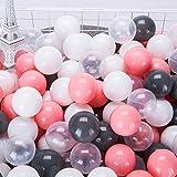 TCM カラーボール パステル 4色 100個入り 直径5.5cm 【プール/ボールハウス/キッズプレイサークル用】やわらかポリエチレン製 (透明、ホワイト、黒、いピンク)