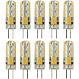 Rayhoo 10pcs G4 Base 24 LED Light Bulb Lamp 1.5 Watt AC/DC 12V 10-20V Non-dimmable Equivalent to 10W T3 Halogen Track Bulb Re