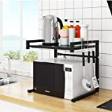 CHOUREN Microwave Oven Rack,Carbon Steel Holder,Expandable Shelf,with 3 Hooks and Anti-Slippery Mat, Bearing Weight 66lbs,Dou