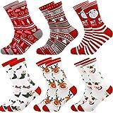 Christmas Holiday Socks,Kapmore 6 Pairs Cute Colorful Fun Cotton Socks Warm Cozy Socks Holiday Slipper Socks XMAS Crew Socks