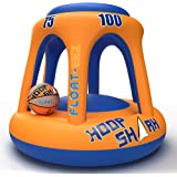 Swimming Pool Basketball Hoop Set by Hoop Shark - Orange/Blue 2020 Edition - Inflatable Hoop with Ball Included - Perfect for