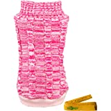 Wiz BBQT Casual Elegant Cat Dog Pet Sweater Turtleneck Knitted Knitwear Outerwear with Collar for Dogs & Cats Pets (XS, Pink)