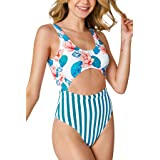 CUPSHE Women's One Piece Swimsuit Floral Print Stripe Cutout Scoop Back Bathing Suit