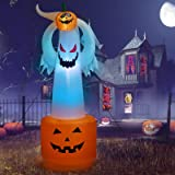 LZAQBB Halloween Decorations - 6FT Ghost with Pumpkin for Halloween Decorations Outdoor Inflatables,Blow Up Yard Decorations