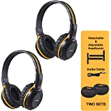 SIMOLIO 2 Pack of IR Wireless Headphones for in-Car TV, DVD, Video Listening, 2 Channel Car Headphones with EVA Cases, Aux Co