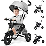 6-in-1 Foldable Kids Tricycle Bike, Baby Stroller, Ride on Toy, Steerable Toddler Learning Bike with Adjustable Canopy, Spong