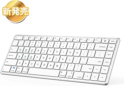 iClever Bluetoothキーボード 3台同時接続可能 静音 薄型 軽量 英語配列 パンタグラフ式 マルチデバイス キーボード iOS/Android/Mac/Windows対応(pgup、pgdn、home、endキー付き) 18ヶ月品質保証 ホワイトIC-BK21