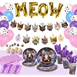 168 Pcs Cat Party Supplies Plates Cutlery Balloons Birthday Decorations Set, Kitten Party Disposable Dinnerware Plates Napkin