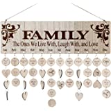 Family Birthday Calendar Board DIY Wooden Birthday Reminder Wall Hanging Calendar Plaque for Mom Dad with 100 Piece Wooden Di