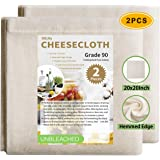 Olicity Cheesecloth, 20x20 Inch, Grade 90, 100% Unbleached Pure Cotton Muslin Cloth for Straining, Ultra Fine Reusable Hemmed