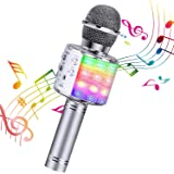 BlueFire Wireless 4 in 1 Bluetooth Karaoke Microphone with LED Lights, Portable Microphone for Kids, Best Gifts Toys for 4 6