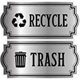 Recycle and Trash Logo Symbol - Elegant Golden Look for Trash Cans, Containers, and Walls - Laminated Vinyl Decal (XSmall, Si