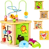 Baby Small Activity Cube Toys 6-in-1 Play Center Wooden Bead Maze Animal Shape Sorter Clock Learning Developmental Montessori