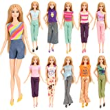 Barwa 5 Sets Handmade Blouse with Trousers Pants for 11.5 Inch Girl Doll