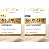 L'Oreal Paris, Skin Expertise Age Perfect Day + Night Hydrating Moisturizer Cream for Mature Skin SPF 15, 2 x 2.5-Oz