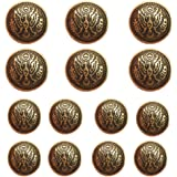 YaHoGa 14pcs Antique Gold Blazer Buttons for Men's Suits Blazers Sport Coats 20mm 15mm Metal Shank Blazer Buttons Set for Sew