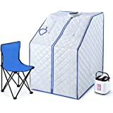 Portable Steam Sauna Tent Kit 1000W Steamer W/Foldable Chair + Remote Control,Blue,Room Indoor Loss Weight Slimming Skin Spa