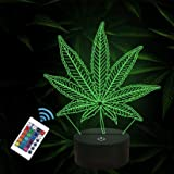 FULLOSUN 3D Night Lights, Cannabis Leaf Illusion Lamp with Smart Touch 7 Colors Changing Table Desk Bedroom Decor Optical Hom