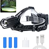 LED Rechargeable Headlamp for Adults,90000 Lumens Outdoor Led Head Lamps Flashlights, Headlights with Batteries Included, Zoo