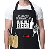 Miracu Funny Apron for Men - BBQ Grilling Gifts, Cooking Gifts, Beer Gifts for Men - Birthday, Thanksgiving, Christmas Joke G
