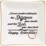 Retirement Gifts for Women-Ceramic Ring Dish Trinket Tray-Happy Retirement Appreciation Gift for Mom,Coworkers, Boss,Friends,