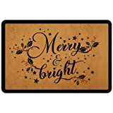 Christmas Door Mat Outside Merry and Bright Doormat Welcome Mats for Front Door Rubber Non Slip Backing Funny Doormat Indoor