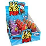 Big Baby Pop Lollipop with Sherbet Dip, 12 Pack of 3 Assorted Flavours, Retro Sweets, American Candy
