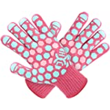 JH Heat Resistant BBQ Glove: EN407 Certified 932 °F, 2 Layers Silicone Coating, Coral Shell with Turquoise/Pink Coating, Oven