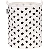 "Sea Team 19.7"" Large Sized Waterproof Coating Ramie Cotton Fabric Folding Laundry Hamper Bucket Cylindric Burlap Canvas Stora"