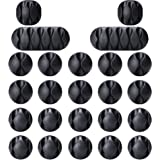 Cable Clips, OHill 24 Pack Black Adhesive Cord Holders, Ideal Cords Management for Organizing Cable Wires-Home, Office, Car,