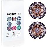 Car Coasters 2 Pack Absorbent Mandala Ceramic Car Cup Holder Insert Coasters, 2.56''(Purple)