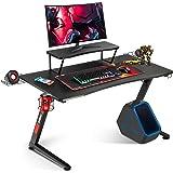 GTRACING ゲーミングデスク モニター台付き パソコンデスク デスク ゲーマーに向け 幅 108 cm×奥行60cm 耐荷重80kg Z字フレーム 組立簡単 レッド Z03-RED