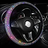 Car Fuzzy Steering Wheel Cover for Women Girls, Universal 15 Inch Colorful Bling Anti-Slip Wheel Protector, Bejeweled Bedazzl
