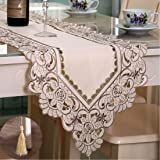 lelehome Flowers Embroidered Short Satin Floral Table Runner Tapestry-Beige Flower(15 inch x 59 inch)