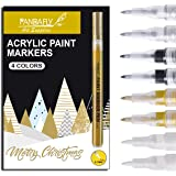 Acrylic Paint Pens for Rock Painting, Stone, Ceramic, Wine Glass, Wood, Fabric, Canvas, Metal, Scrapbooking. Set of 8, 2 Whit
