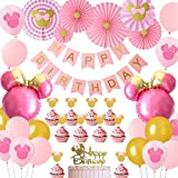 Minnie Themed Party Decorations Pink and Gold, Minnie Mouse Head Balloons Paper Fans Cake Toppers, Girls 1st 2nd 3rd Birthday