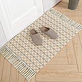 Cotton Woven Tassels Rug | Geometric Diamond Tribal Chindi Throw Rug | Reversible Boho Laundry Rug | 2'x3' Small Rug for Bedr