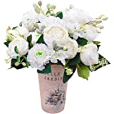 Artificial Peony Silk Flowers Fake Faux Peony Bouquets Flowers for Wedding Party Bridal Home Decoration Table Centerpieces (W