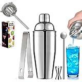 Cocktail Shaker Set of 5, H HOME-MART 26 oz Martini Shakers Professional Bar Set Stainless Steel Drink Shaker Bartender Barwa