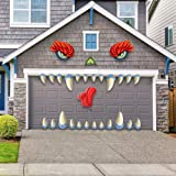 JOYIN Monster Face Halloween Garage Archway Door Decoration with Monster's Eyes, Fangs, Tongue, Nose and Double Face Stickers