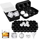 UOON Ice Cube Trays (Set of 3), Easy-Release Silicone and Flexible Ice Trays with Spill-Resistant Removable Lid, Ice Cube Mol