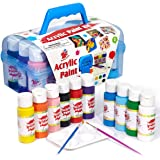 TBC The Best Crafts Acrylic Paint Set Kit, 10 Bottles(20 fl. Oz) Acrylic Paint for Kids with Paint Brushes & Palette, Ideal S
