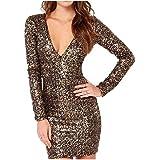 Howme-Women Deep V Neck Sequin Long Sleeve Bodycon Mini Dress