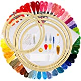 OPount 77 Pieces Full Range of Cross Stitch Starter Kit with 5 Pieces Embroidery Hoop, 50 Color Embroidery Thread, 2 Pieces R
