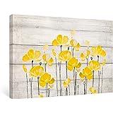 SUMGAR Yellow Canvas Wall Art Retro Poppy on Vintage Wood Background Flowers Canvas Framed, 16''x24''