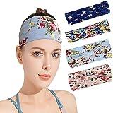 Isobel Wide Women's Yoga Running Headbands Sports Workout Headwrap, 4 Pack Bandana Headband Elastic Turban Head Wrap Boho Hai
