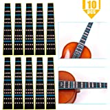 Heatoe 10 Pack 4/4 Full Size Violin Finger Guide Sticker, Violin Notes Sticker Fingerboard Sticker Fretboard Marker for Begin