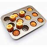 Copper Canele Molds Cake Pan Carbon Steel,12-Cavity Non-Stick Cannelel Pans for Baking Cake