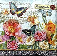 95980Punch Studio 40ct用紙Luncheon Napkins、水仙フィールド花柄バタフライ