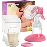 Advanced Breast Pump Set W/Bottle & Bags: Easy, Hand-Free Breastfeeding for Mom. Small, Discreet & Portable Manual Breast Mil